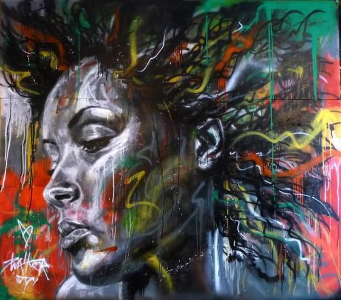 Spray Paint Portraits Without Brushes and Stencils (14 pics)