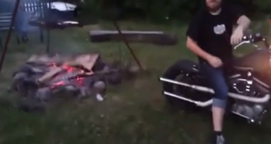 Making Fire with Motorcycle