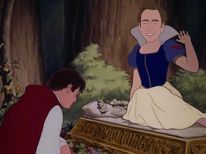 Nicolas Cage As Disney Princesses (9 gifs)