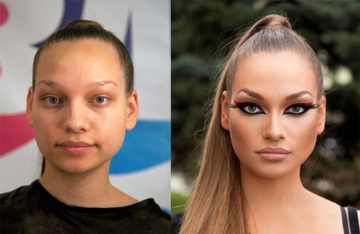 Girls With and Without Makeup (64 pics)