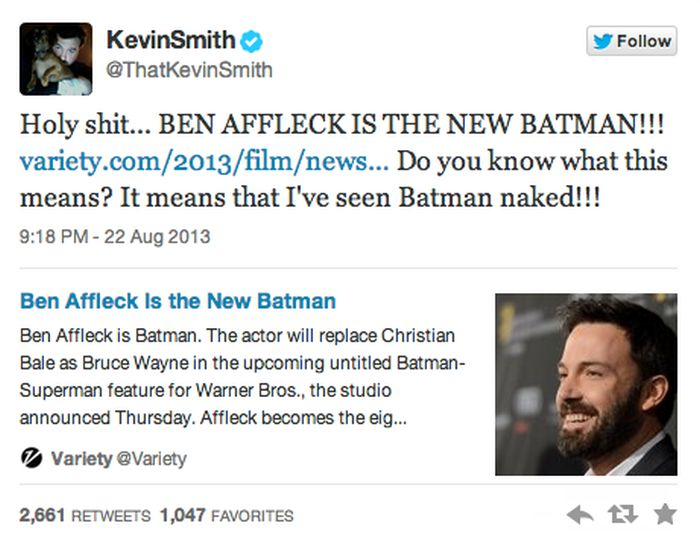Reactions to Ben Affleck Being Cast as Batman (40 pics)