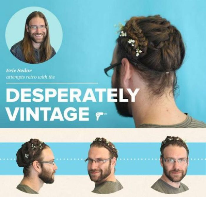 Guys Try Out Girly Hairstyles (8 pics)