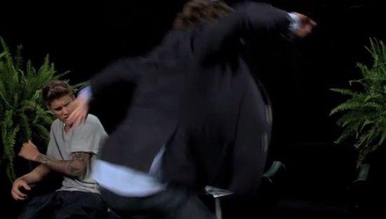 Zach Galifianakis Beats Justin Bieber on Live Air