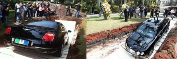Billionaire Buries His Bentley (5 pics)