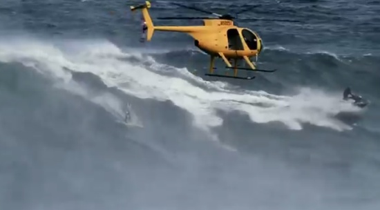 Extreme Surfing on Giant Waves