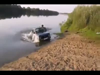 Rescuing a Car From Drowning in the River