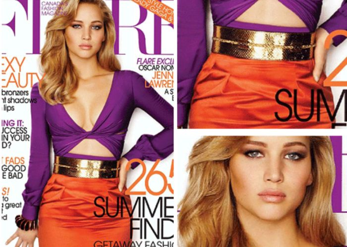 "Jennifer Lawrence's Photoshopped Cover of ""Flare"" Magazine (2 gifs)"
