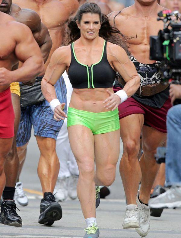 Danica Patrick Wearing a Muscle Costume (5 pics)