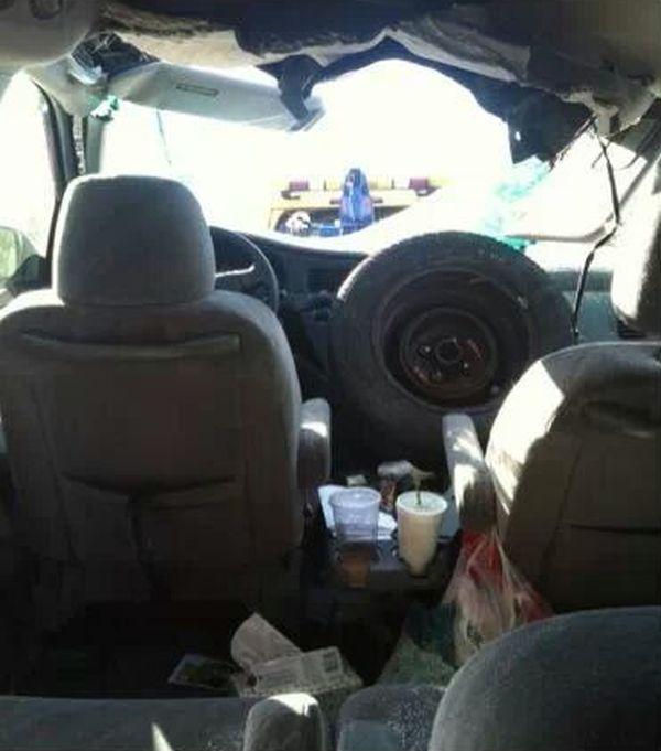 Tire Flies Into a Car's Windshield (3 pics)