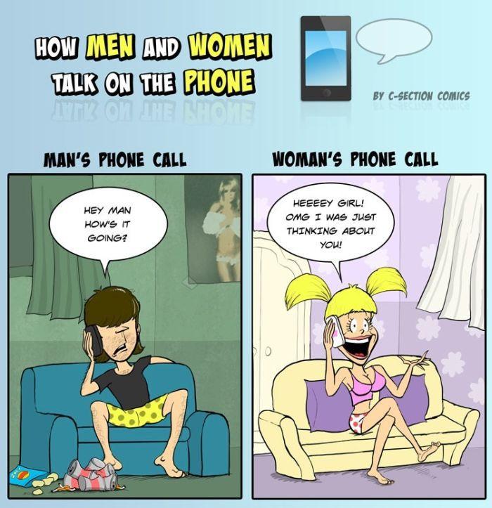 Talking On The Phone - Men Vs. Women (5 pics)