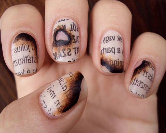 Burnt Paper Nails (4 pics)