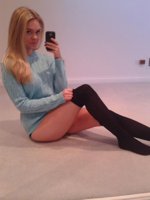 Pretty ebony teen Cassidy Banks posing non nude in over the knee socks  2082659