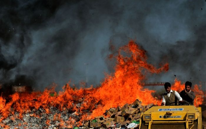 Illegal Alcohol and Drugs Put on Fire (13 pics)