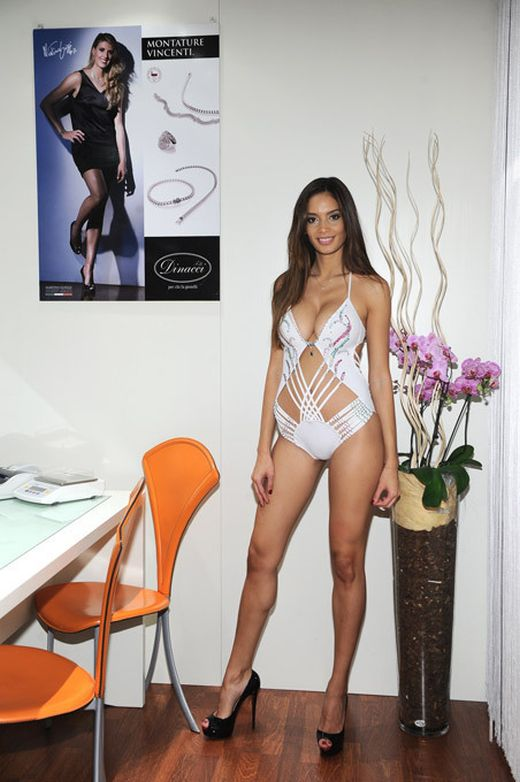 Melody Mir Posing in One Million Dollar Swimsuit (6 pics)