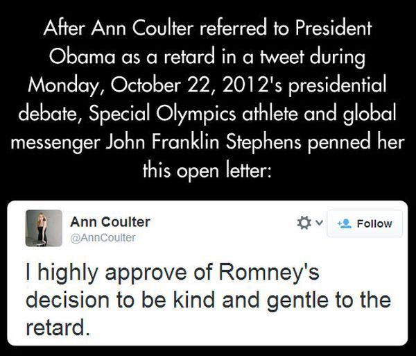 Open Letter from Franklin Stephens to Ann Coulter (5 pics)