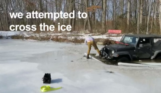 Off-road SUV Got Stuck in Lake Covered With Ice
