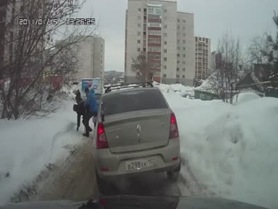 Russian Driver Helps a Pedestrian