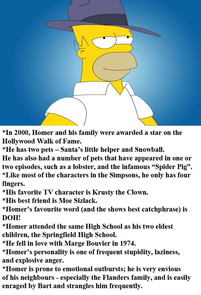 Facts About Homer Simpson (3 pics)