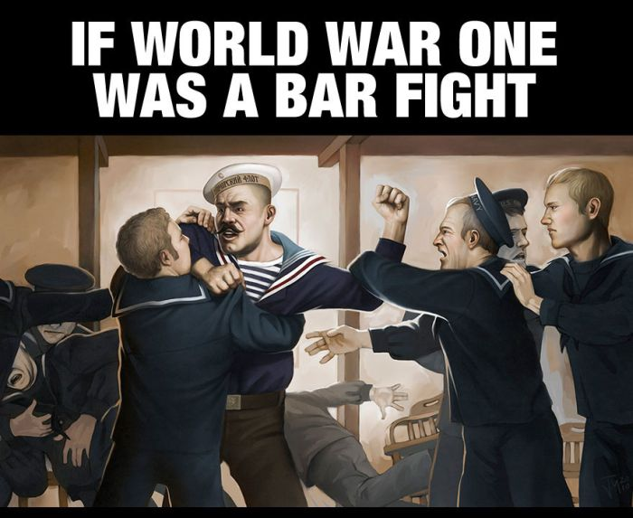 The Story Of World War One Cleverly Retold As a Bar Fight (4 pics)