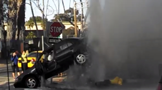 Amazing Water Pressure of Crashed Fire Hydrant