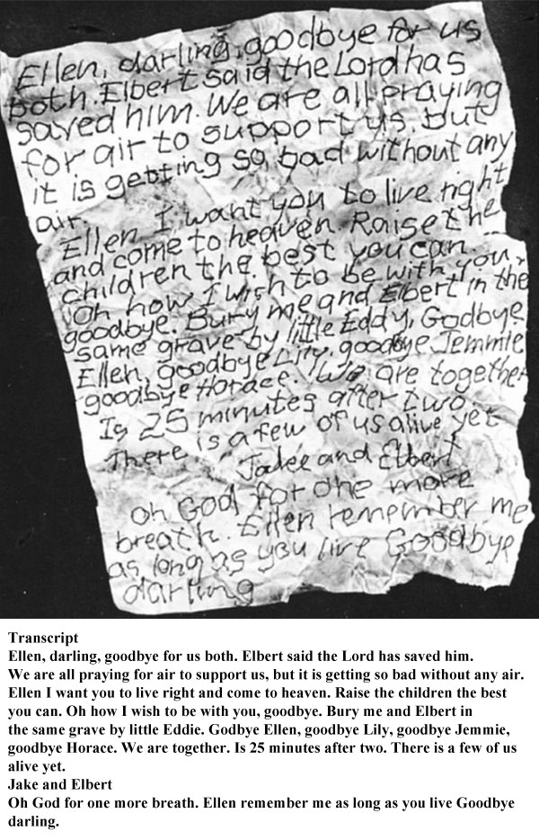 A Letter from a Coal Miner Trapped After a Mine Explosion (2 pics)