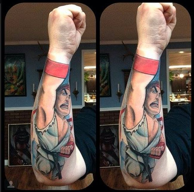 Street Fighter II Perspective Tattoos (2 pics)