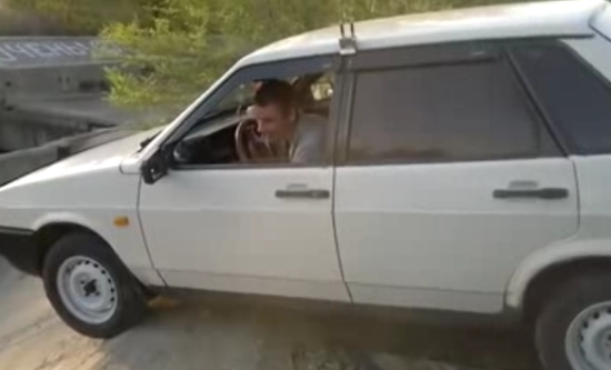Drunk Russian Guy Shows His Driving Skills