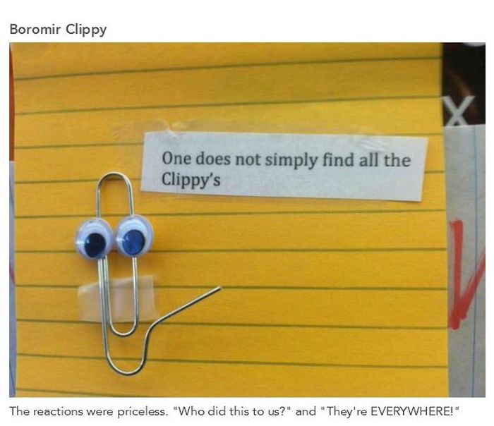 Microsoft Office Paperclip in an Office Prank (12 pics)
