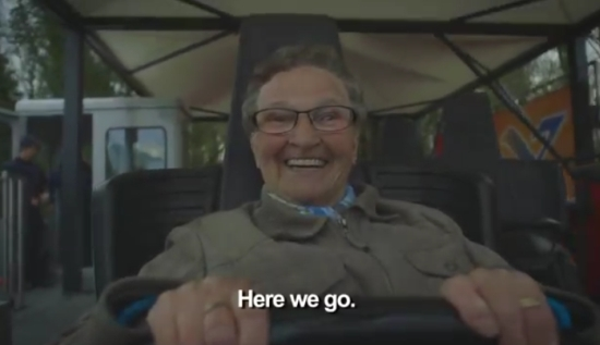78-Years Old Granny Rides Roller Coaster for the First Time Ever