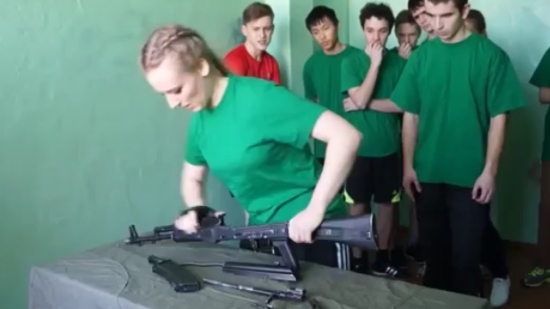 Meanwhile in Russia: Kids Assembling an AK-47 Machine Gun
