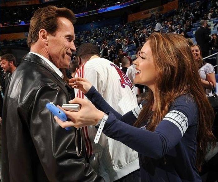 Arnold Schwarzenegger and Alyssa Milano Then & Now (2 pics)