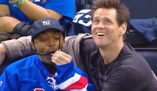 Jim Carrey At The Rangers Game