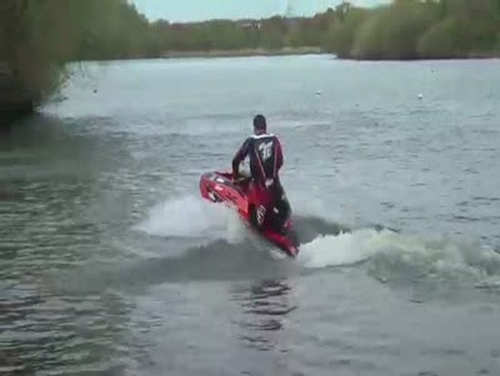 World Champion Jet Skier Showing Off His Skills