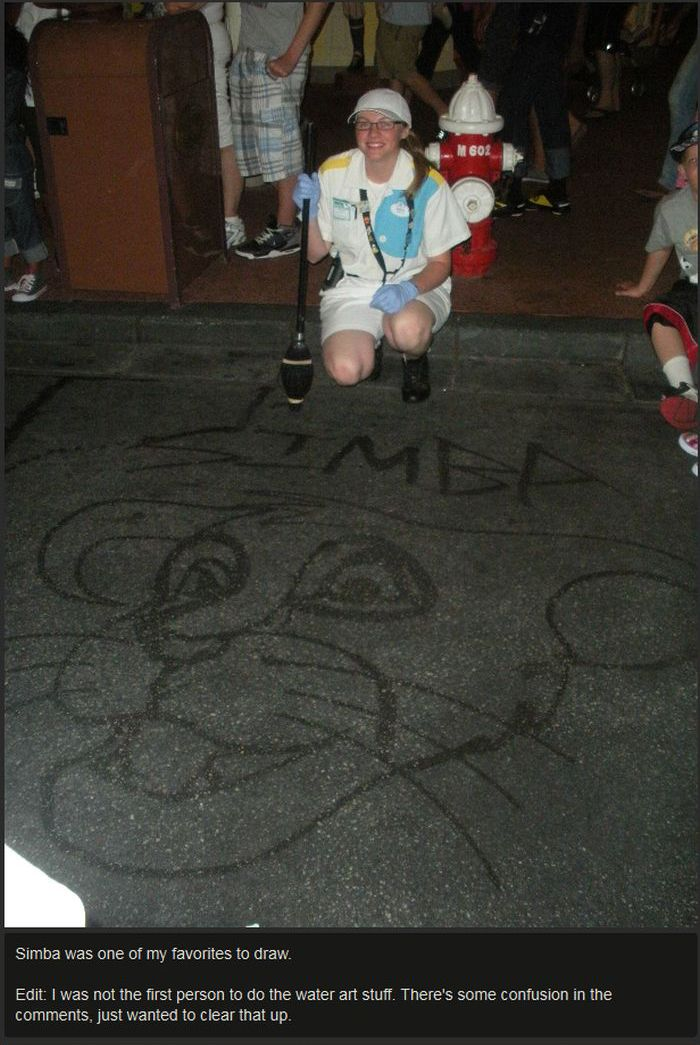 Janitor At Disney World Draws Characters With A Broom (12 pics)