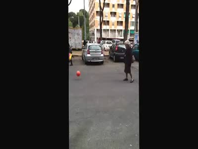 Grandma Shows Off Her Soccer Skills