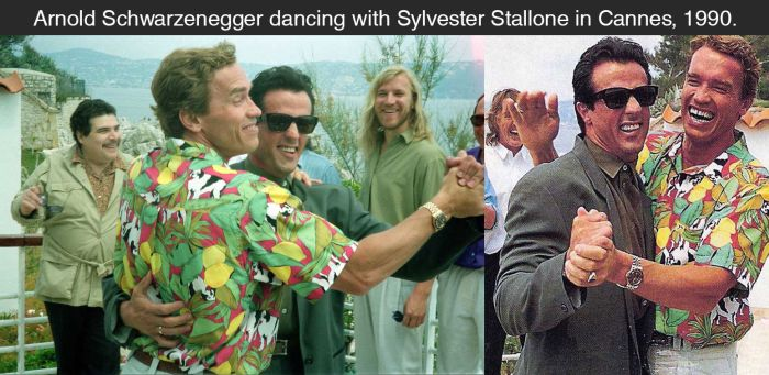 Schwarzenegger And Stallone Share A Dance (2 pics)
