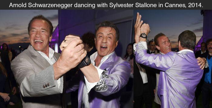 Schwarzenegger And Stallone Share A Dance (2 pics)