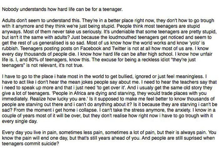 14 Year Old's Open Letter To The World (2 pics)