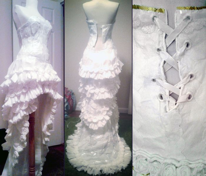 Wedding Dress Made Out Of Toilet Paper (6 pics)