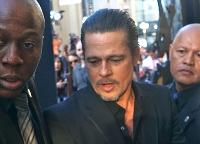Brad Pitt Gets Hit In The Face At Maleficent Premiere (9 pics)