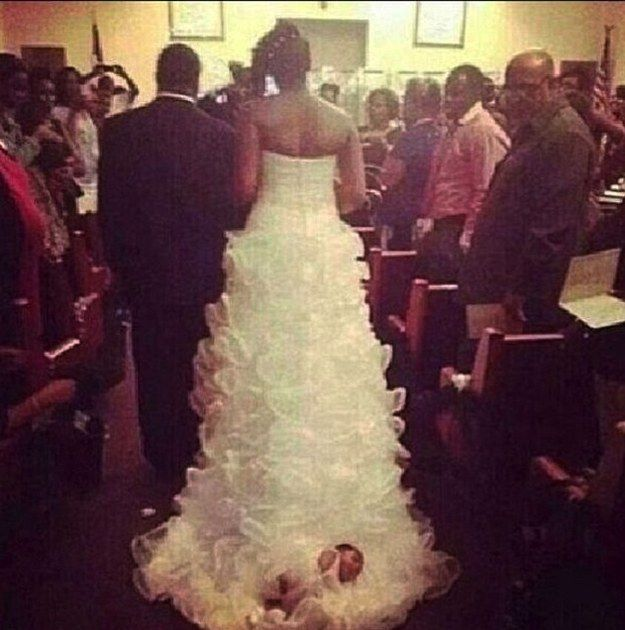 Tying Your Baby To Your Wedding Dress Is A Bad Idea (3 pics)