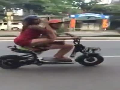 Two Girls On Scooter Fail