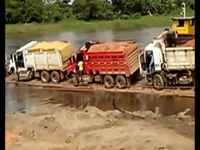 Fully Loaded Trucks On Barge Gone Wrong