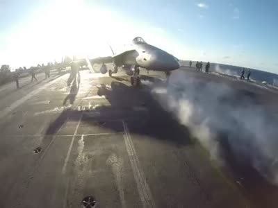 Jet Fighter Checks System Before Takeoff
