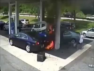 Spectator Rescues Driver From A Car During Gas Station