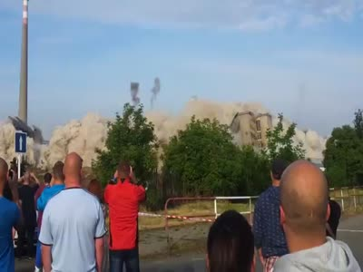 Close Call During Building Demolition