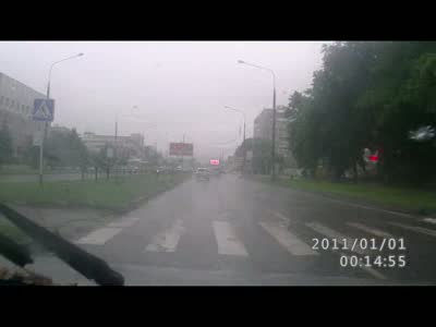 Driver Helps Pedestrian Cross The Road