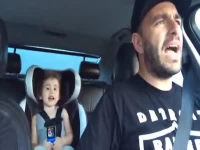 Dad And Daughter Singing On The Way Home