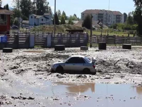 Testing Subaru WRX STi AWD In Mud