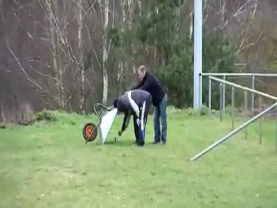 Epic Explosion Under The Wheelbarrow